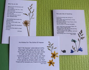 3 Hand pressed Irish wild flower cards featuring the poems of W.B.Yeats - The Cloths of Heaven - Lake Isle of Innisfree - When you are old -