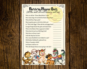 Mother Goose Baby Shower Game Cards Custom Printed Handmade Set of 12 Vintage Ecru Farm Animals Nursery Rhyme Hey Diddle Diddle