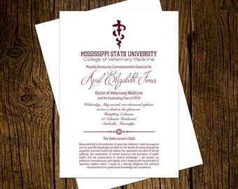Mississippi State University DVM Graduation Announcements Set of 12 Personalized Custom Printed Class of 2018