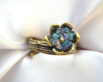 Flower ring Opal ring Gift for wife Floral ring Gift women Gift for mom Gifts for daughter Gifts for girl friends Adjustable ring For her