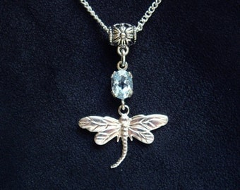 Blue topaz necklace Dainty necklace Wife gift Dragonfly necklace Gift for women Sister gift Gift for daughter Topaz crystal Something blue
