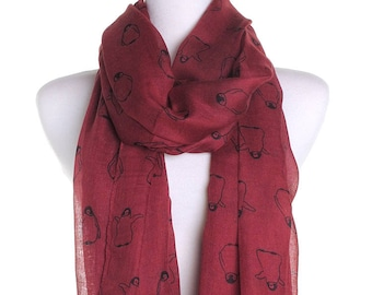 Red Baby Penguin Scarf / Spring Summer Scarf / Autumn Scarf / Secret Santa Christmas Present / Gifts For Her / Handmade Fashion Accessory