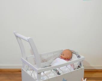bed trailer doll cradle, bassinet, vintage