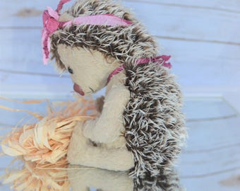 Hedgehog mohair teddy bear with armature to allow it to curl into a ball!