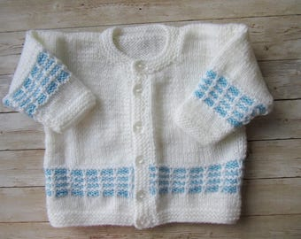 Sailor Baby Cardigan, White Blue Cardigan, Toddler Knitted Cardigan, Baby Jacket Sweater, Baby Sweater, Baby Outwear, Ready To Ship
