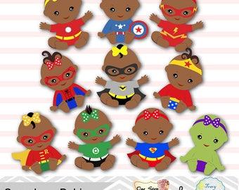 20 Baby Girl Superhero Digital Clipart, Africa American Girls Superhero Baby ClipArt, Superhero Baby Girl Clipart Superhero Baby Shower 0232