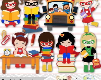 Digital Superhero Clip Art, School Day Clipart, Superhero Girls Back to School Clipart, Girls School Day Clipart, School Girl Clip Art 0244