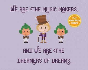 Willy Wonka Cross stitch Pattern -  PDF file Instant Download - Charlie and The Chocolate Factory - Gene Wilder - Oompa Loompa