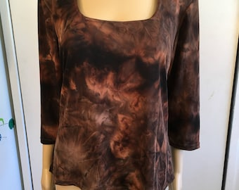80's Stretchy Tie-Dye Look Shirt/Vintage Women's Blouse/Brown And Black/Size X-Large/Top/1980's
