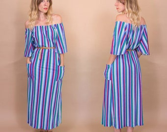 Vintage 70s Primary Colour Striped, Terry Cloth, Hippie Maxi Dress, Beach Cover up