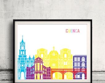 Cuenca EC skyline pop - Fine Art Print Glicee Poster Gift Illustration Pop Art Colorful Landmarks - SKU 2413