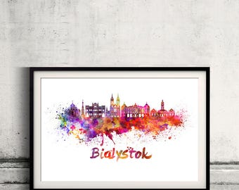 Bialystok skyline in watercolor over white background with name of city - Poster Wall art Illustration Print - SKU 2790