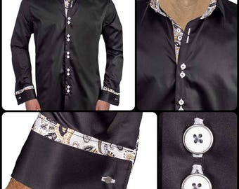 Black with Gray French Cuff Men's Designer Dress Shirt - Made To Order in USA