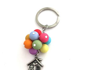 Up Keychain, Up Keyring, Up Key Chain, Up Key Ring, Up, Adventure Is Out There, La- Haut, Disney Keychain, Disney Keyring, Flying House