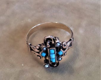 12K Gold Ring with Turquoise and Pearl