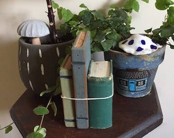 Hand made tiny books out of wood
