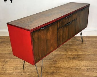 Vintage/Retro Mid-Century red sideboard media unit bar cabinet - upcycled