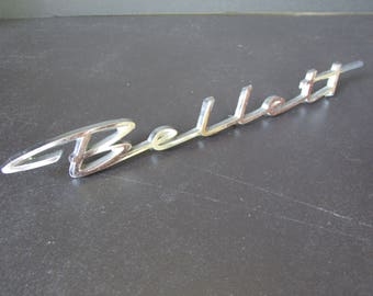 1960s Isuzu Bellet Script Emblem, Nameplate/ Vintage chrome quarter panel logo, 3 pin