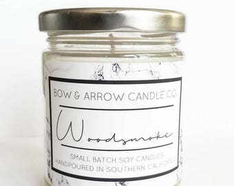 Natural Soy Candle Woodsmoke Scented | 7 oz Jar Candle | Woodsmoke Scented | Masculine Candle | Scented Soy Candle | Campfire Candle