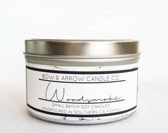 8 oz Natural Soy Candle Woodsmoke Scented | 8 oz Tin Candle | Campfire Soy Candle | Woodsmoke | Scented Soy Candle | Soy Candles | Masculine