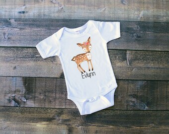 Baby Deer w/Name - Woodland Animals Onesie or T-Shirt