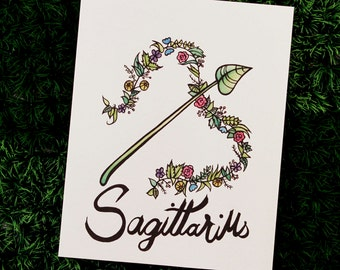 Zodiac Fun Gift, Unique Birthday Gift, Birthday Artwork, Sagittarius Gift, Sagittarius Artwork, Astrology Unique, Watercolor, Plant Painting