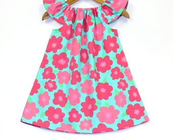 Mint & Pink Baby Dress, flower dress, baby girl clothes, kids clothes, baby girl dress, kids clothing, baby girl clothing, summer, cotton