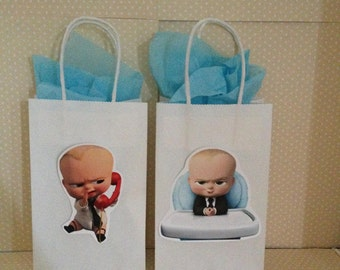 Boss Baby Party Favor Bags with Handles - Set of 10