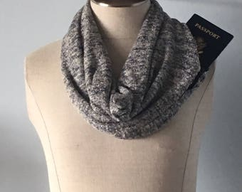 Blue and gold sparkle sweater scarf with hidden zipper pocket