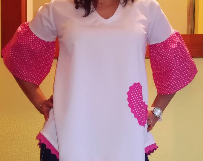 Tunica heart, Tunic, Blouses, Women's clothing, Tops and Tees, handmade in Portugal, personalized clothing, pink blouse, Patchwork, handmade clothes