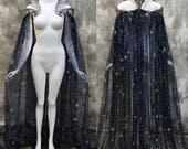 Fantasy Starry Collar Cloak ~ Wicca Cape Witch Outfit ~ Fairy Bridal Elven Gothic Pagan Medieval ~ Perfect choice for your wedding dress