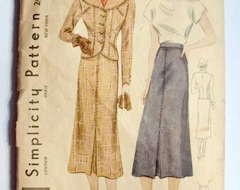 Simplicity 1930s Ladies Suit Sewing Pattern 2480 Size 16 Bust 34