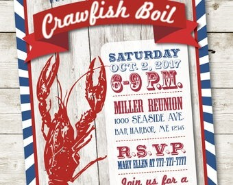 Crawfish Boil Invitation, Crawfish Party Invitation, Louisiana Boil, Seafood Boil Invitation, Lobster Invitation, Lobster Boil Invitation