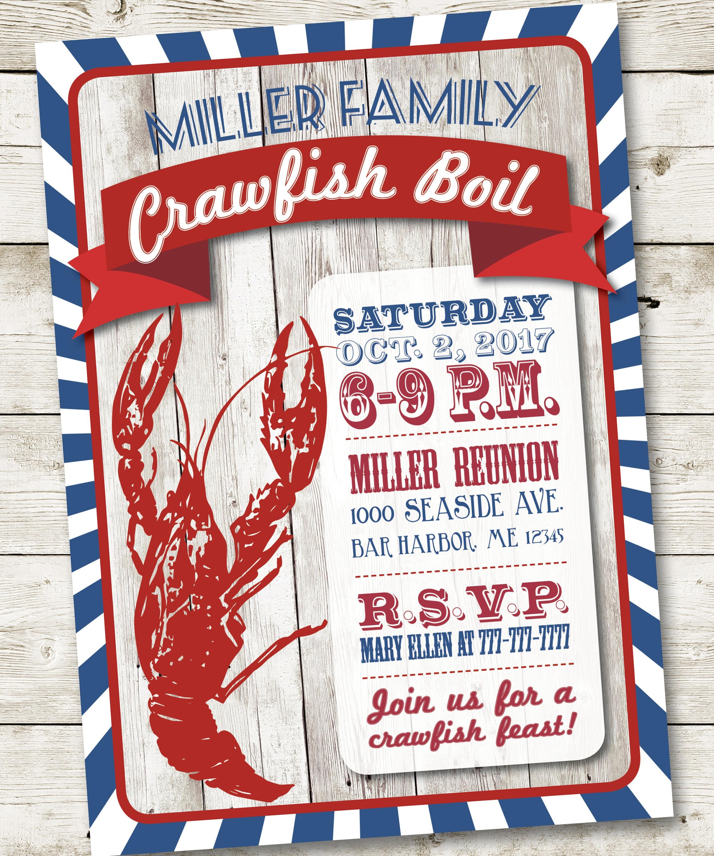Crawfish Boil Invitation Crawfish Party Invitation Louisiana
