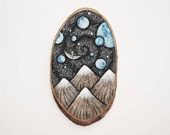 Galaxy Boatman // Original Wood Slice Art, Wood Art, Planets.  Designed by Menisart