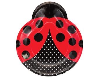 Ladybug Plates - Ladybug Birthday - Girl Baby Shower - Ladybug Birthday Decorations - Ladybug Baby Shower - Red Ladybug - Butterfly Party