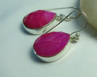Faceted pink onyx earrings set in 92.5 sterling silver,free shipping