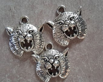 5 pcs, lions, massive round medallions pendants charms - animal lion Africa - silver - 20 x 19 mm