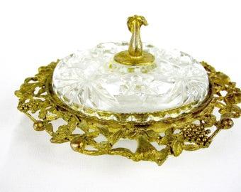 Gold Filigree Crystal Powder Dish,  Vanity Trinket Dish,  Powder Jar, Signed Celeste 1950s