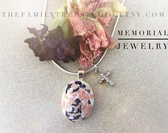 Memorial Flower Jewelry, Funeral Flowers, Oval Pearl, In Loving Memory, Loss of Loved One, Funeral Flowers,In Memory Of