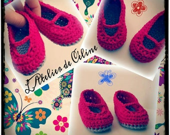 Baby booties shoes crochet - up to 6 months - birth gift or birthday - girl
