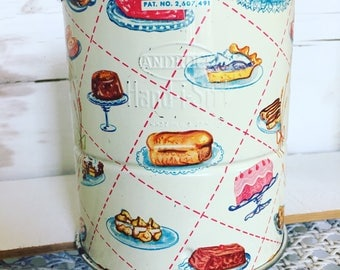 Vintage Flour Sifter Androck Baked Goods Tin Printed Litho Hand-i-sift 3 Screen Cake Pies Wheat