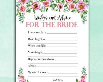 Bridal Shower Game - Advice and Wishes for the Bride - PINK PEONIES Floral - Instant Printable Digital Download - Bridal Shower Printables