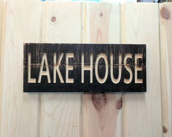 Carved LAKE HOUSE Sign on Reclaimed wood, Carved Reclaimed Sign, ReclaimedSign