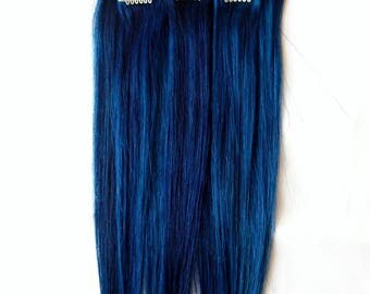Blue hair extension etsy deep cobalt blue human hair extensions 1 pc blue hair clip in pmusecretfo Choice Image