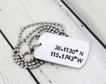Hand Stamped Location Necklace - Personalized Latitude Longitude Necklace - Coordinate Jewelry - Men's Custom Coordinates Necklace