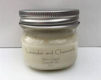 Lavender & Chamomile, 100% All Natural Soybean Candle, 4 oz., Eco Friendly, Clean Burning, No Color or Dyes, MADE IN USA