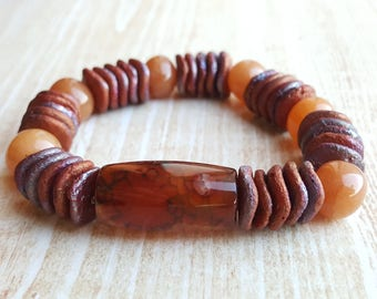 Orange Agate Bead Bracelet