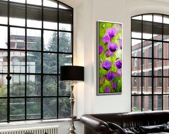 Vertical Wall Art, Decorative Art, Nature Wall Art, Purple Wall Art, Purple Painting, Nature Canvas Art, Purple Canvas Art