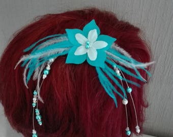 Hair barrette clip white beads / turquoise flower silk feather wedding bridal parties ceremonies hair bun